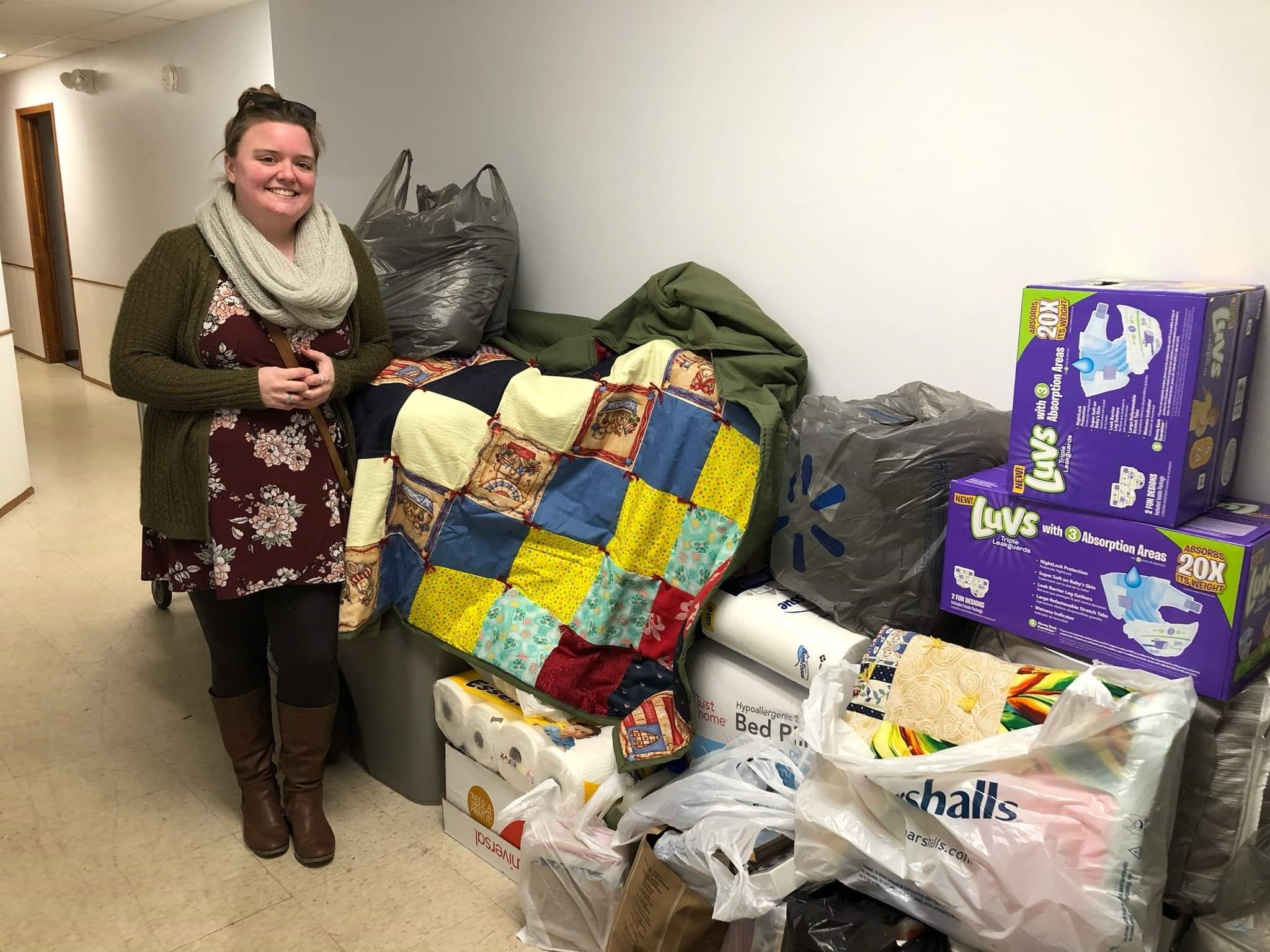 Danielle Hudson with donations.