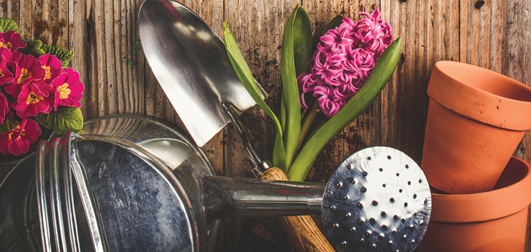Watering can, flower, shovel, pots, and dirt on a wooden bench.