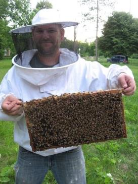 Adam Ingrao with a hive of honeybees