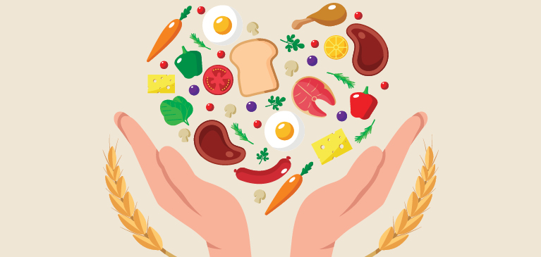 graphic illustrating food and hand