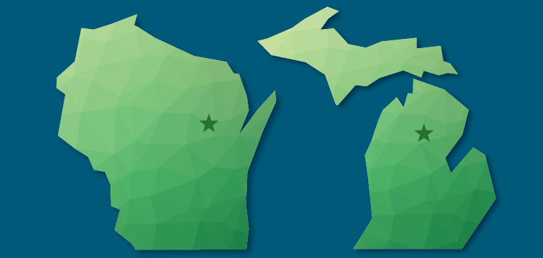 Wisconsin and Michigan state outlines in green with stars to mark where the CSR employees are located