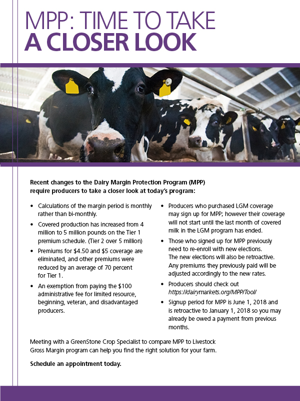 List of changes to Dairy Margin Protection Program