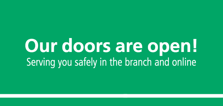 Green Box with Text Our Doors are Open