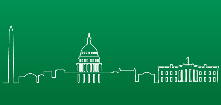 Green city outline of United States buildings