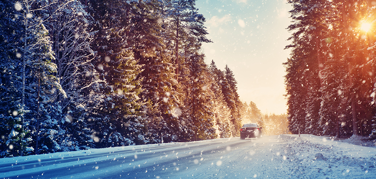 Car driving down snowy road with pine trees lining both sides of the road, with the sun peering through the trees.