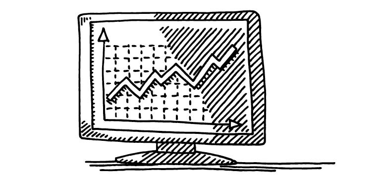Black and white sketch of computer screendisplaying a chart with an upward trend.