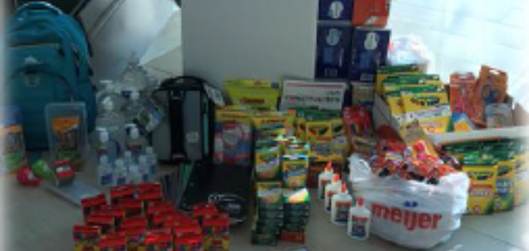 Donation of assorted school supplies
