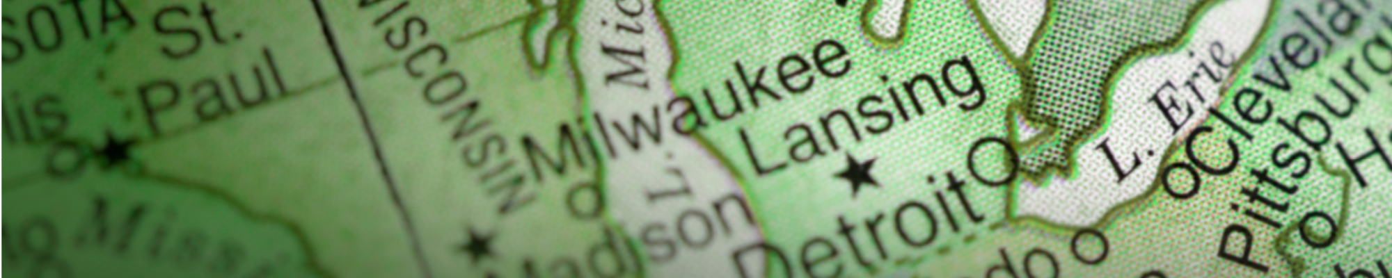 Close up of a map focusing on Michigan and Wisconsin